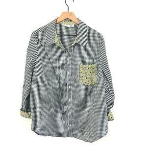 Susan Graver Gingham Check Heart Button Up Shirt